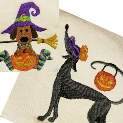Halloween dogs kitchen and hand towels custom embroidered.