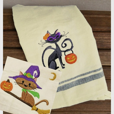 Halloween themed cat towels embroidered.