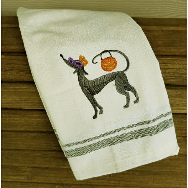 Halloween hound fancy dog embroidered towel for Halloween.