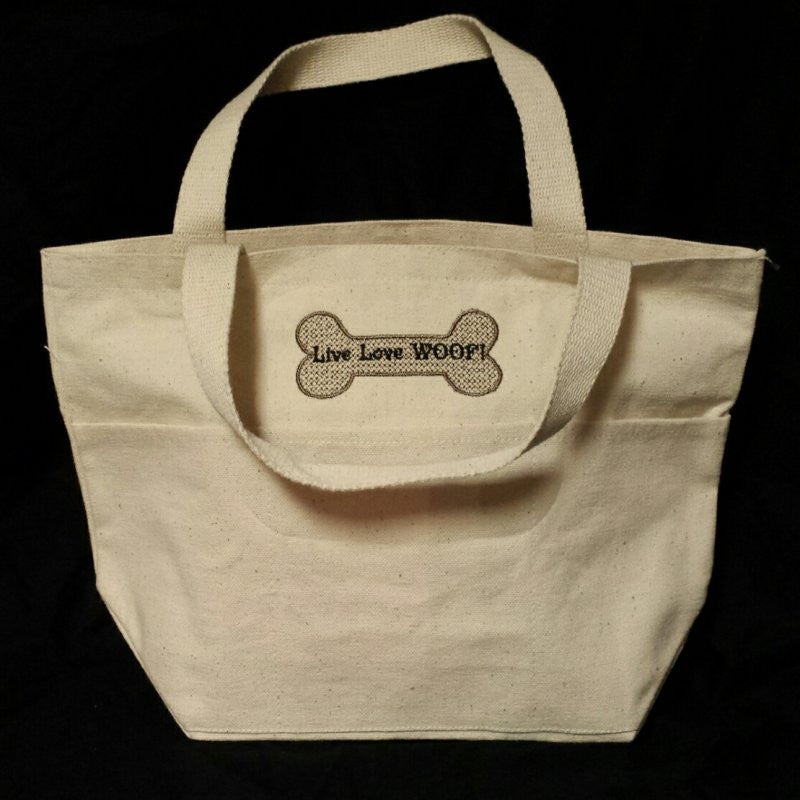 Live Love Woof dog tote bag for all your dogs essentials.