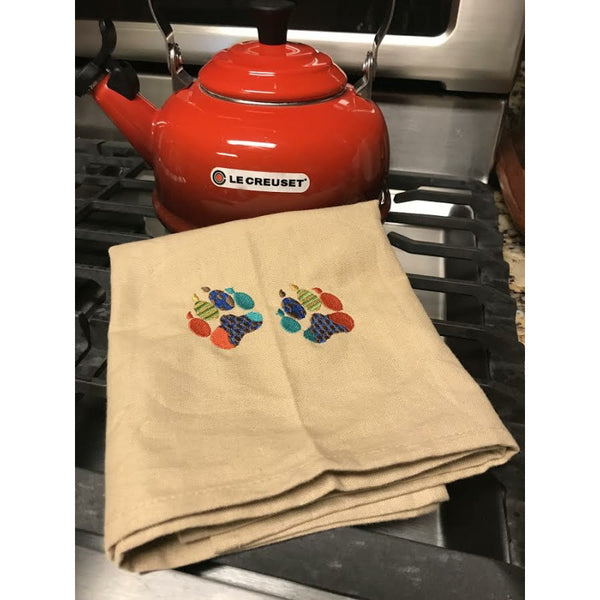 Patchwork paws kitchen towel khaki
