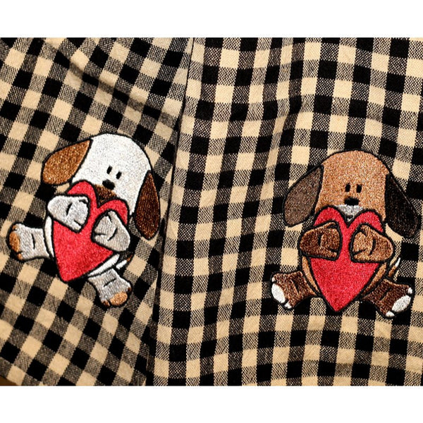Puppy hug dish towels with embroidered puppy and heart.