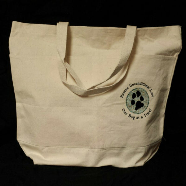 A large dog rescue tote bag that shows your support for animal rescue.