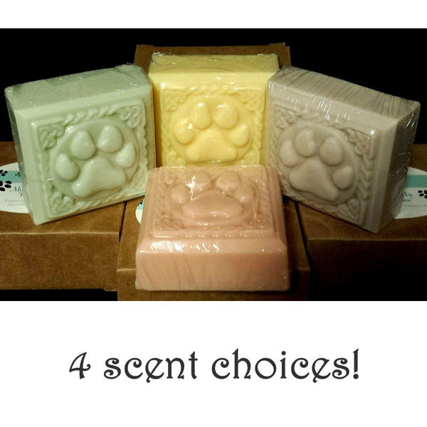 Scented dog soap bars in 4 scents and colors.