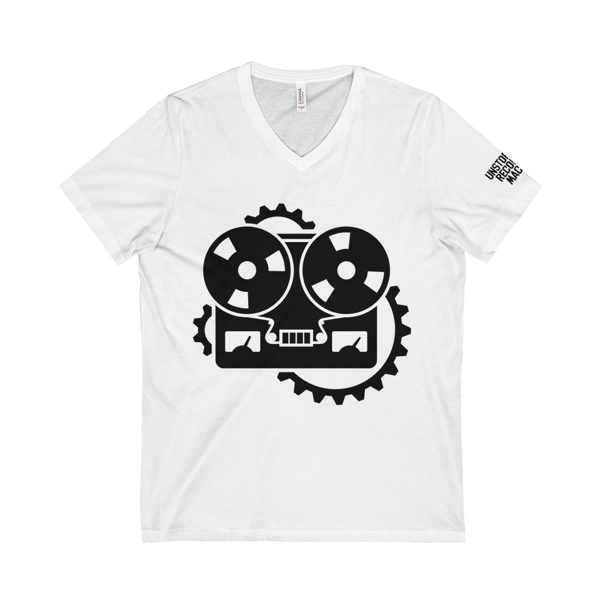 URM Tape Machine V-Neck Tee, Black Print