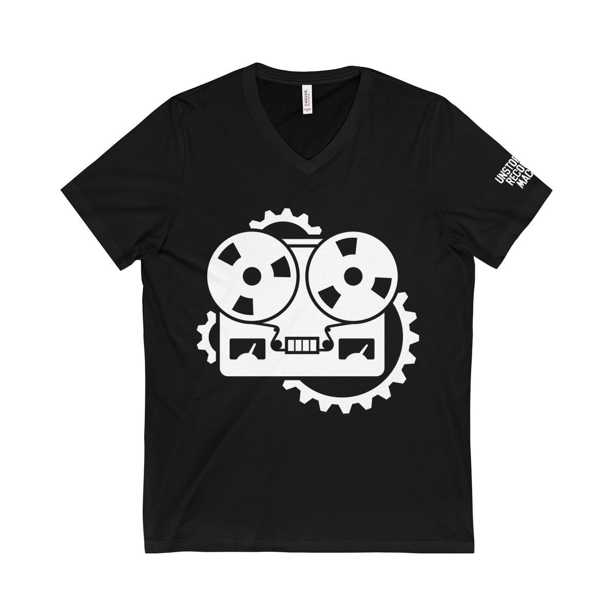 URM Tape Machine V-Neck Tee, White Print