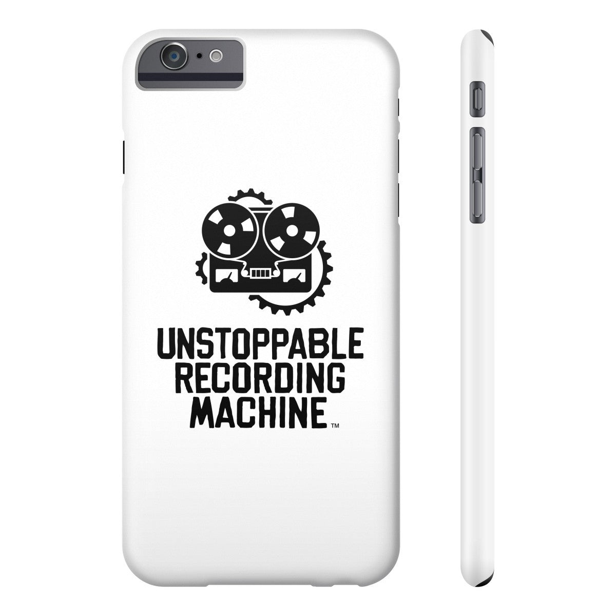 URM Phone Case, White w/ Black Logo