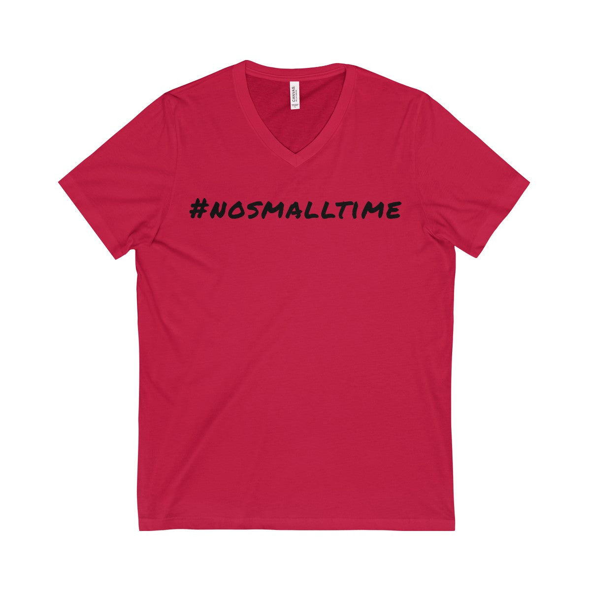 #nosmalltime Short Sleeve V-Neck Tee, Black Print
