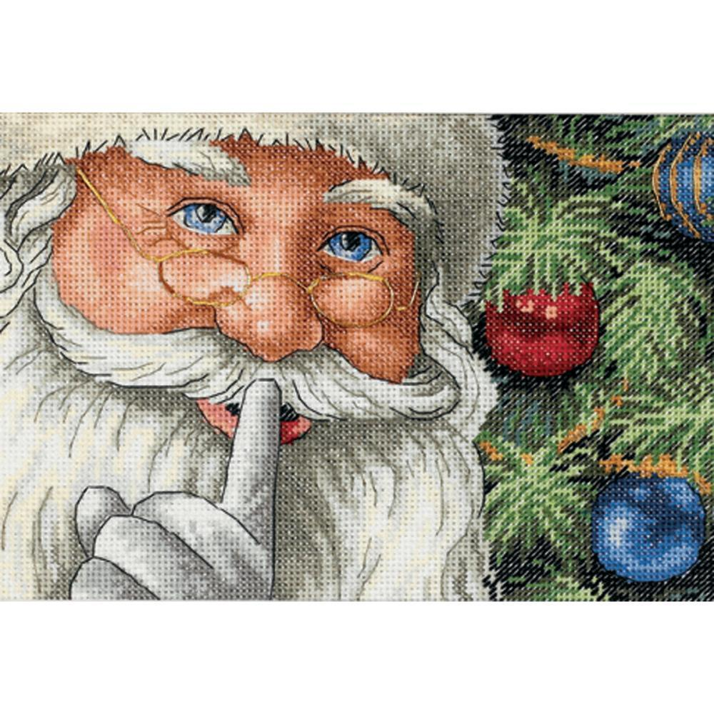 Dimensions Gold Petite Counted Cross Stitch Kit 7x5 inch - Santas Secret (18 Count)