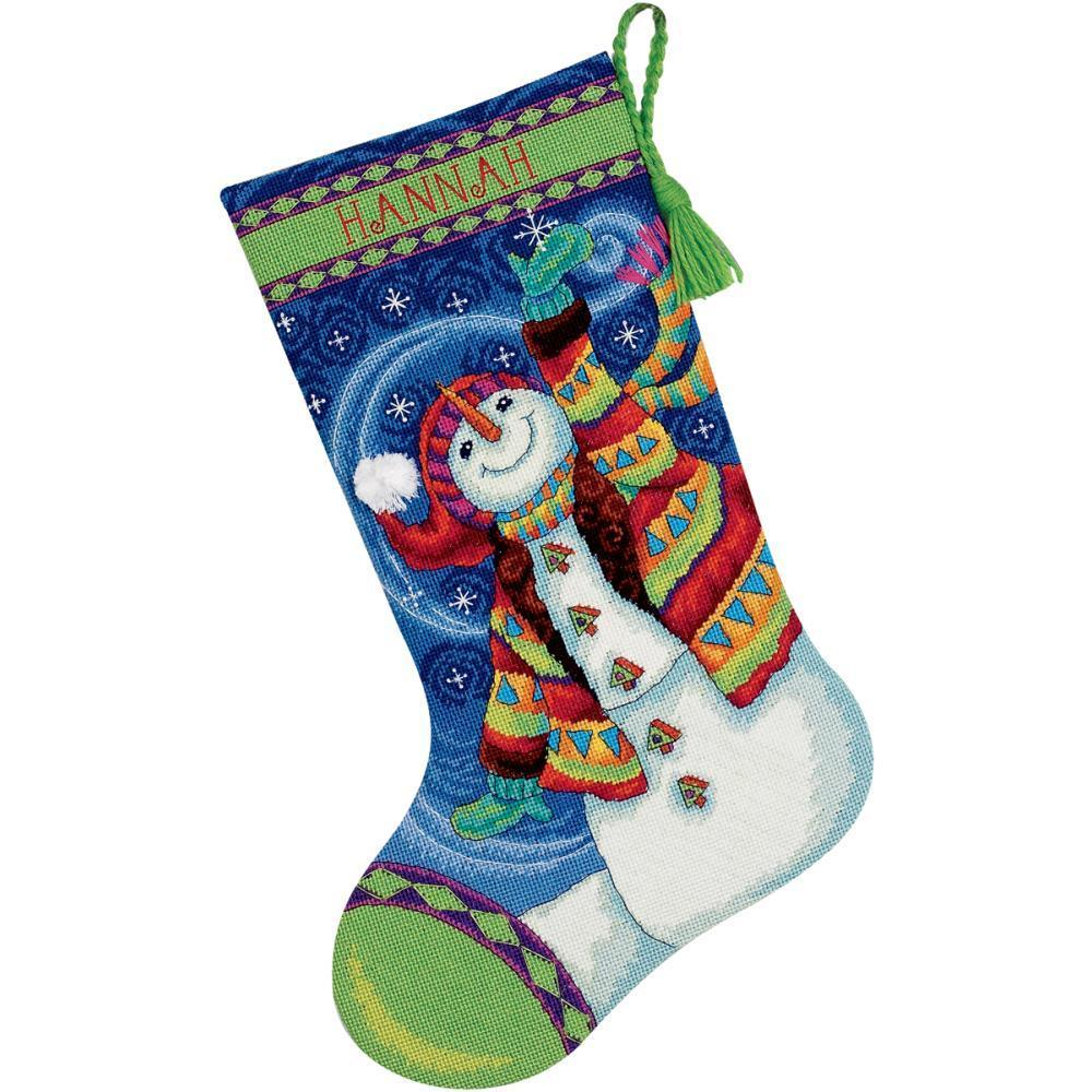 Dimensions Stocking Needlepoint Kit 16 inch Long - Happy Snowman Stitched In Wool & Thread