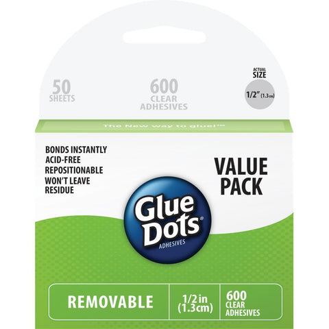 Glue Dots .5inch Removable Dot Sheets Value Pack 600 Clear Dots