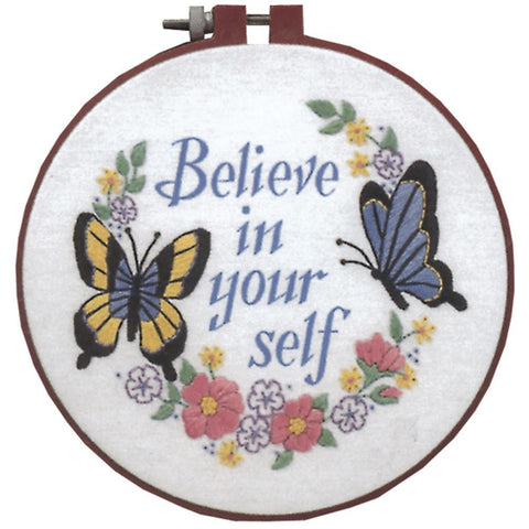 Dimensions/Learn-A-Craft Crewel Embroidery Kit 6 inch Round - Believe In Yourself-Stitched In Thread