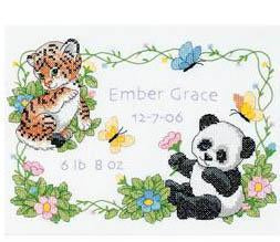 Dimensions/Baby Hugs Stamped Cross Stitch Kit 12x9 inch - Baby Animals Birth Record