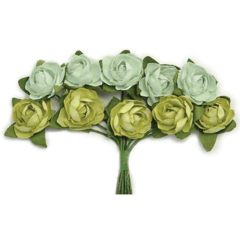Kaisercraft - Mini Paper Blooms .5 inch Flowers with wire Stems 10 pack - Olive