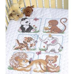 Dimensions Quilt Stamped Cross Stitch Kit 34x43 inch - Animal Babies