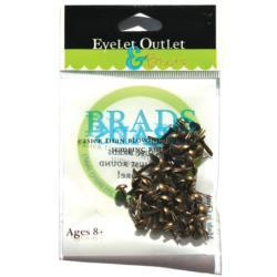 Eyelet Outlet Round Brads 4mm 70 pack - Brushed Brass