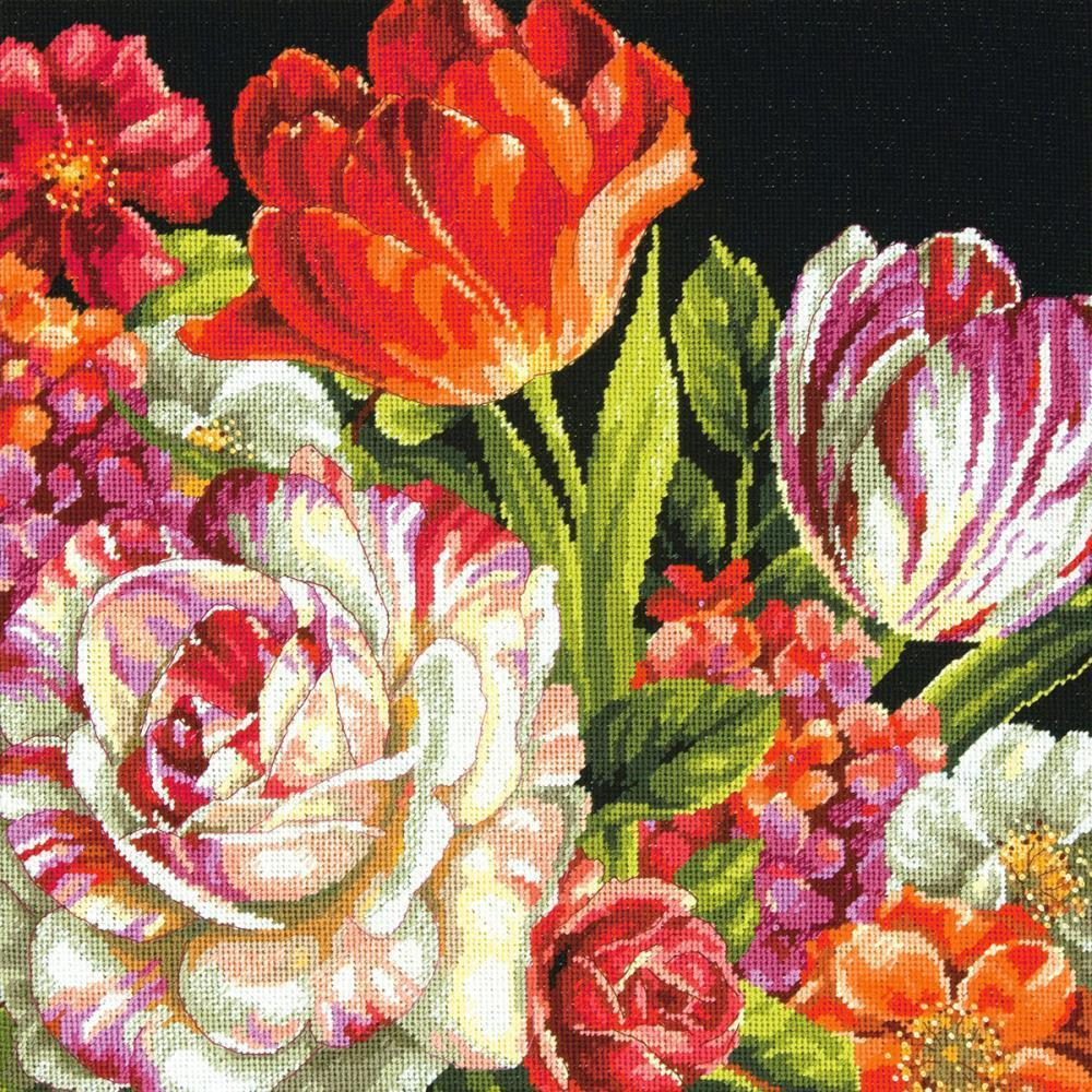 Dimensions Needlepoint Kit 14x14 inch - Bouquet On Black Stitched In Thread