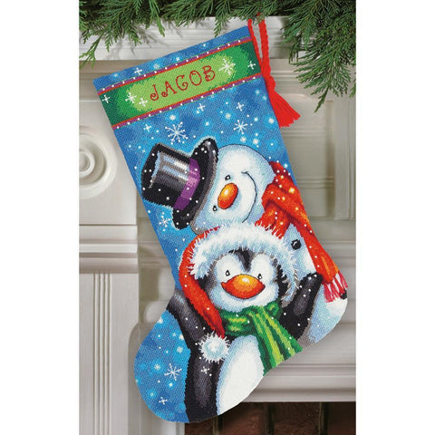 Dimensions Stocking Needlepoint Kit 16 inch Long - Polar Pals Stitched In Thread