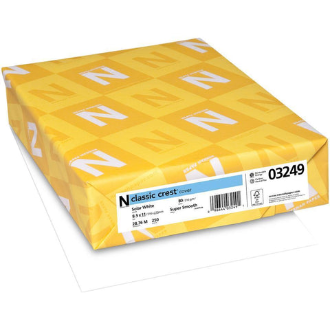Neenah Classic Crest 80Lb (216Gsm) Cardstock 8.5x11 Inch - Solar White 50 sheets