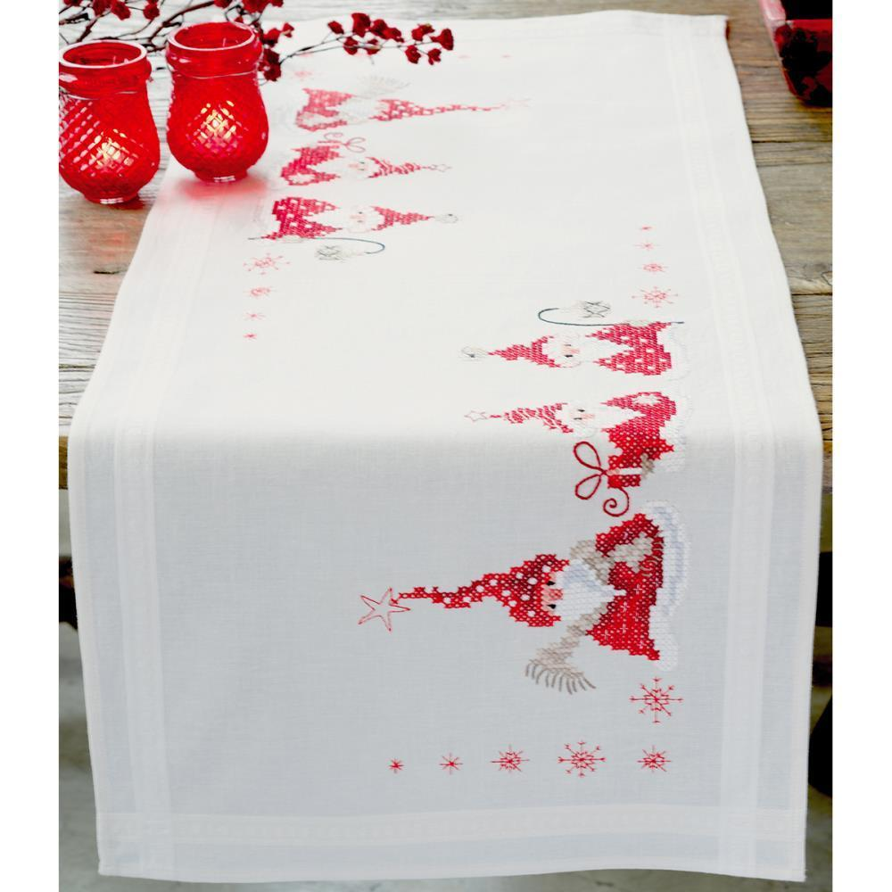 Vervaco Table Runner Stamped Embroidery Kit 16x40 inch - Gnomes Christmas