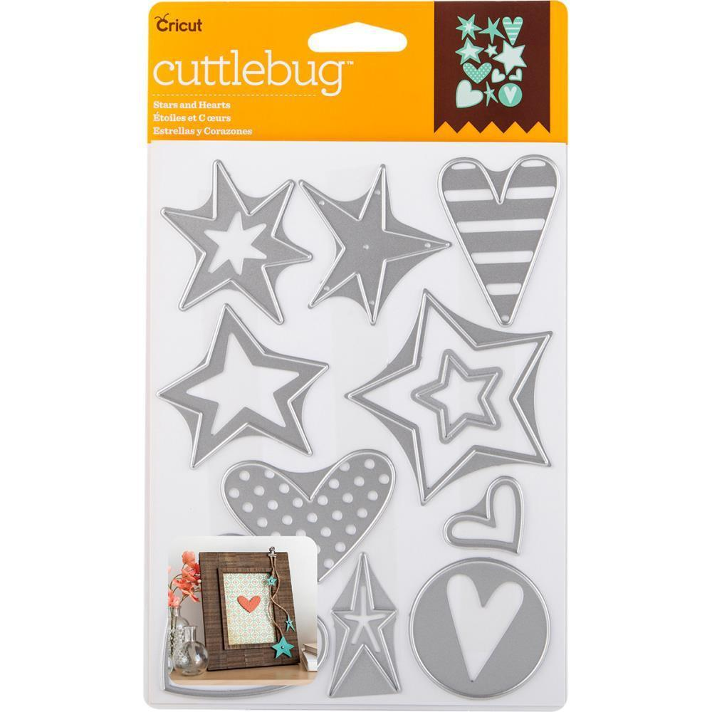 Cuttlebug Cut and Emboss Die Stars and Hearts, 12 pack