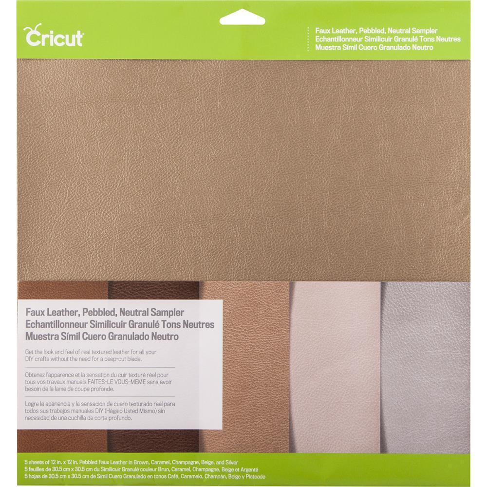 Cricut Pebbled Faux Leather Sampler 12 inch X12 inch 5 pack Neutral