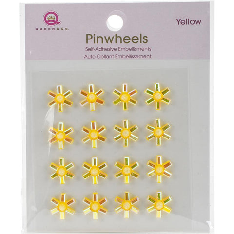 Queen & Co Pinwheels Self-Adhesive Embellishments 16 pack Yellow