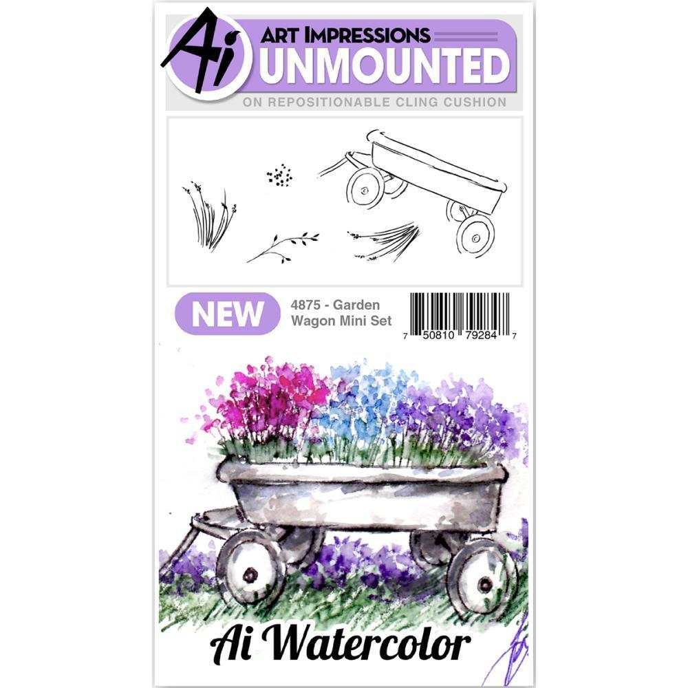 Art Impressions Watercolour Cling Rubber Stamps - Mini Garden Wagon