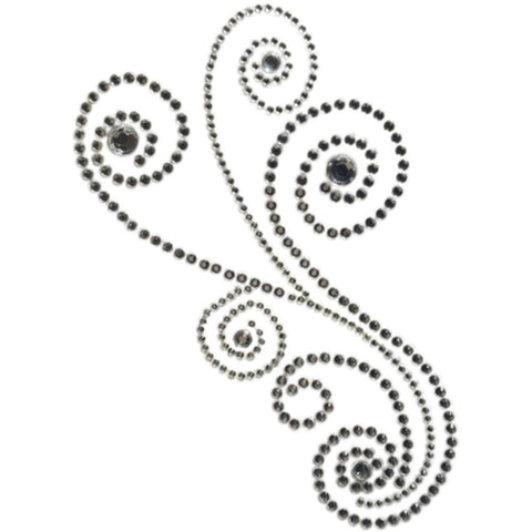 Want2Scrap Self-Adhesive - Maxxi Girl Swirls Bling - Silver Rhinestones