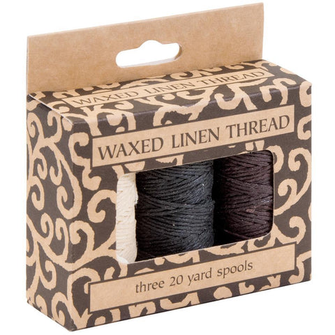 Lineco  Waxed Linen 5 Ply Thread 3 pack Natural, Brown, Black; 20yds Each