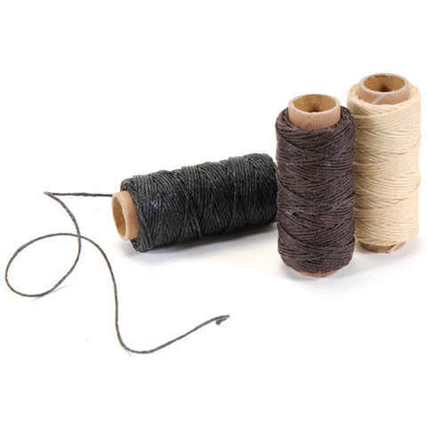 Waxed Linen 5 Ply Thread 3 pack Natural, Brown, Black; 20yds each