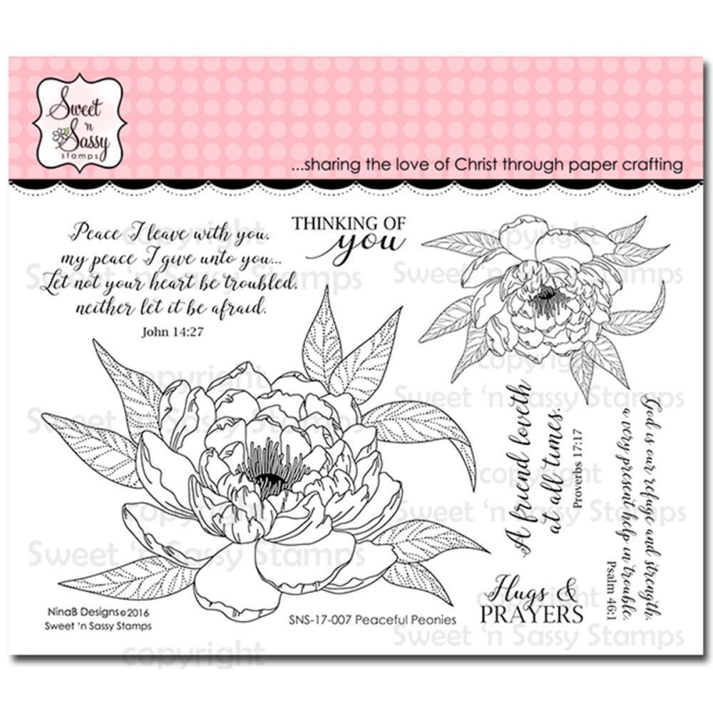 Sweet n Sassy Clear Stamps 4X6 Peaceful Peonies