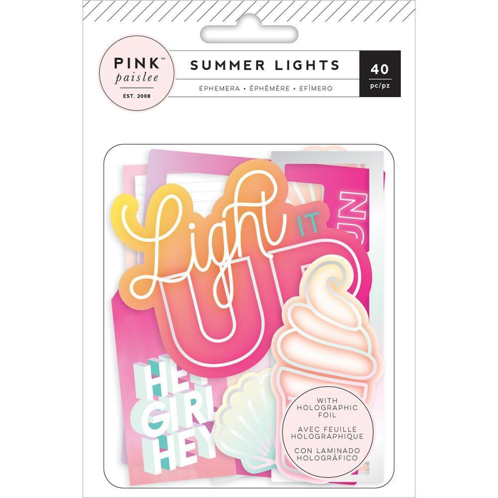 Pink Paislee Summer Lights Ephemera Cardstock Die-Cuts 40 pack