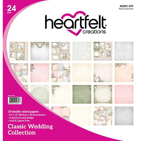 Heartfelt Creations Double-Sided Paper Pad 12X12 inch 24 pack - Classic Wedding