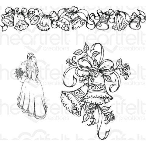 Heartfelt Creations Cling Rubber Stamp Set Classic Wedding Bells