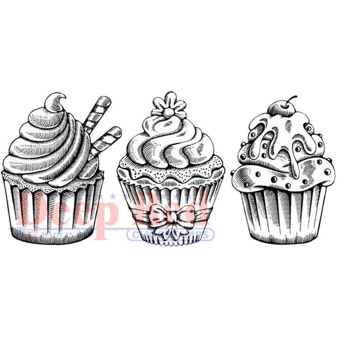 Deep Red Cling Stamp - Cupcake Border