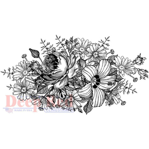 Deep Red Cling Stamp - Floral Centerpiece
