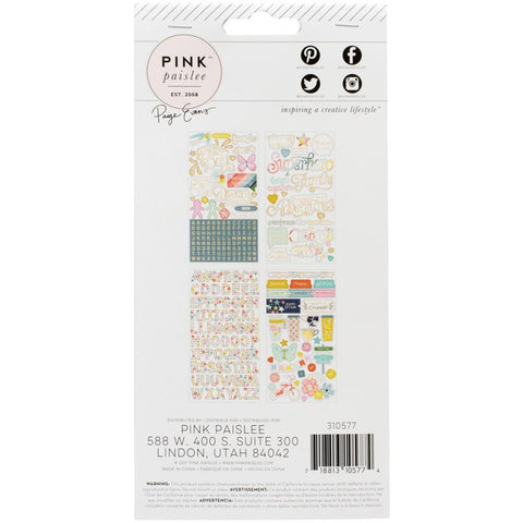 Pink Paislee - Paige Evans Turn The Page - 4-Page Sticker Book w/ Matte Gold Foil Accents
