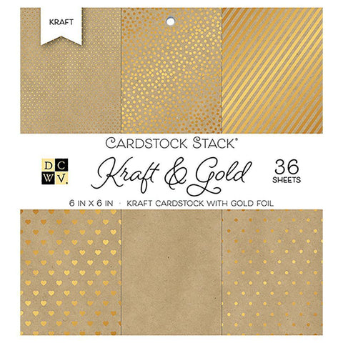 DCWV S/S Cardstock Stack 6x6  inch36 pack - Kraft & Gold with Gold Foil