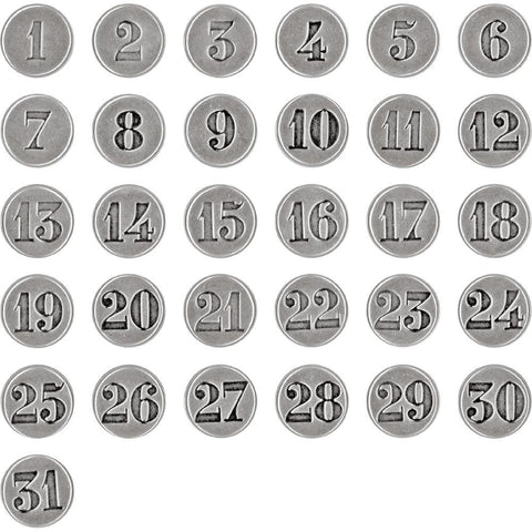 Tim Holtz - Idea-Ology Countdown Brad Fasteners - Antique Nickel Numbers 1 - 31