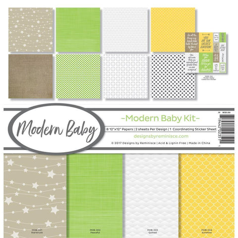 Reminisce Collection Kit 12x12 inch - Modern Baby, 8 Papers & Stickers