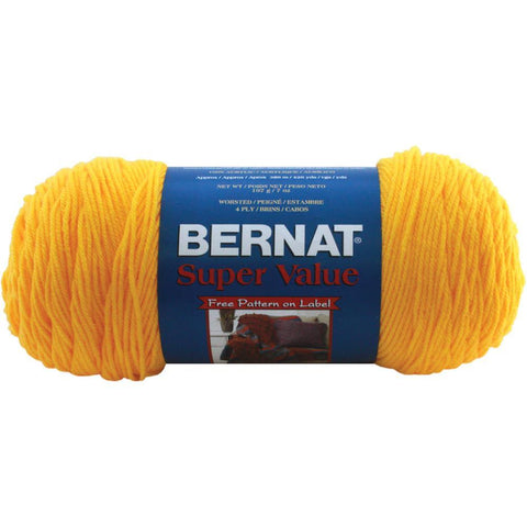 Bernat Super Value Solid Yarn - Bright Yellow - 7oz (197g) 426yd