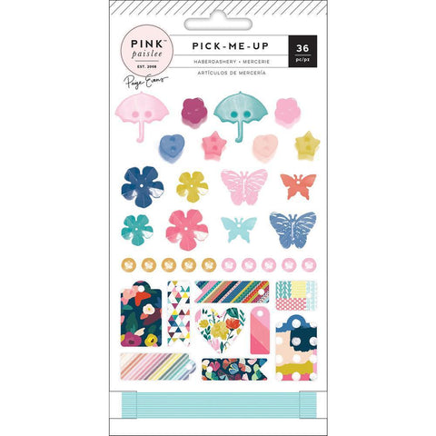 Pink Paislee - Paige Evans Pick Me Up - Haberdashery Embellishments 35 pack Buttons, Sequins & Enamel Tags