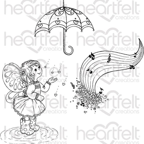 Heartfelt Creations Cling Rubber Stamp Set - Singing In The Rain
