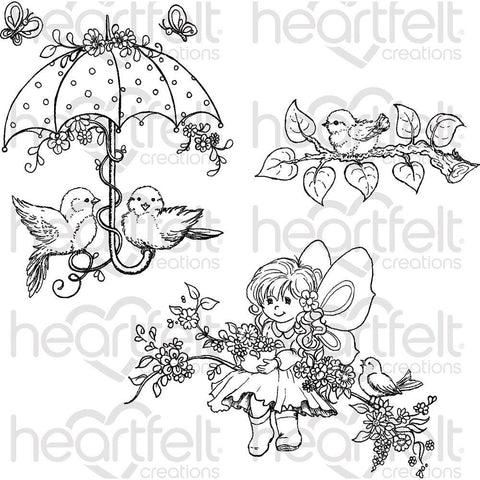 Heartfelt Creations Cling Rubber Stamp Set - Songs Of Spring