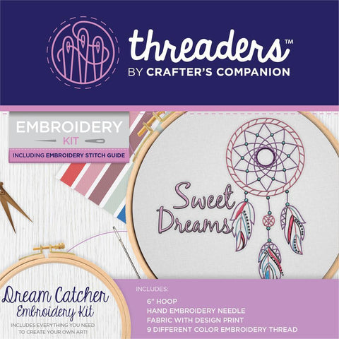 Crafters Companion Threaders Embroidery Kit 6x6 inch - Dream Catcher