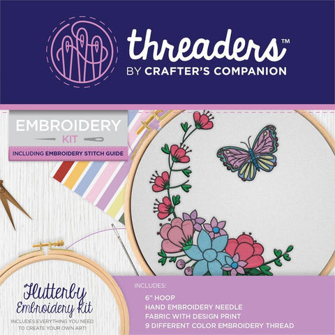 Crafters Companion Threaders Embroidery Kit 6x6 inch - Flutterby
