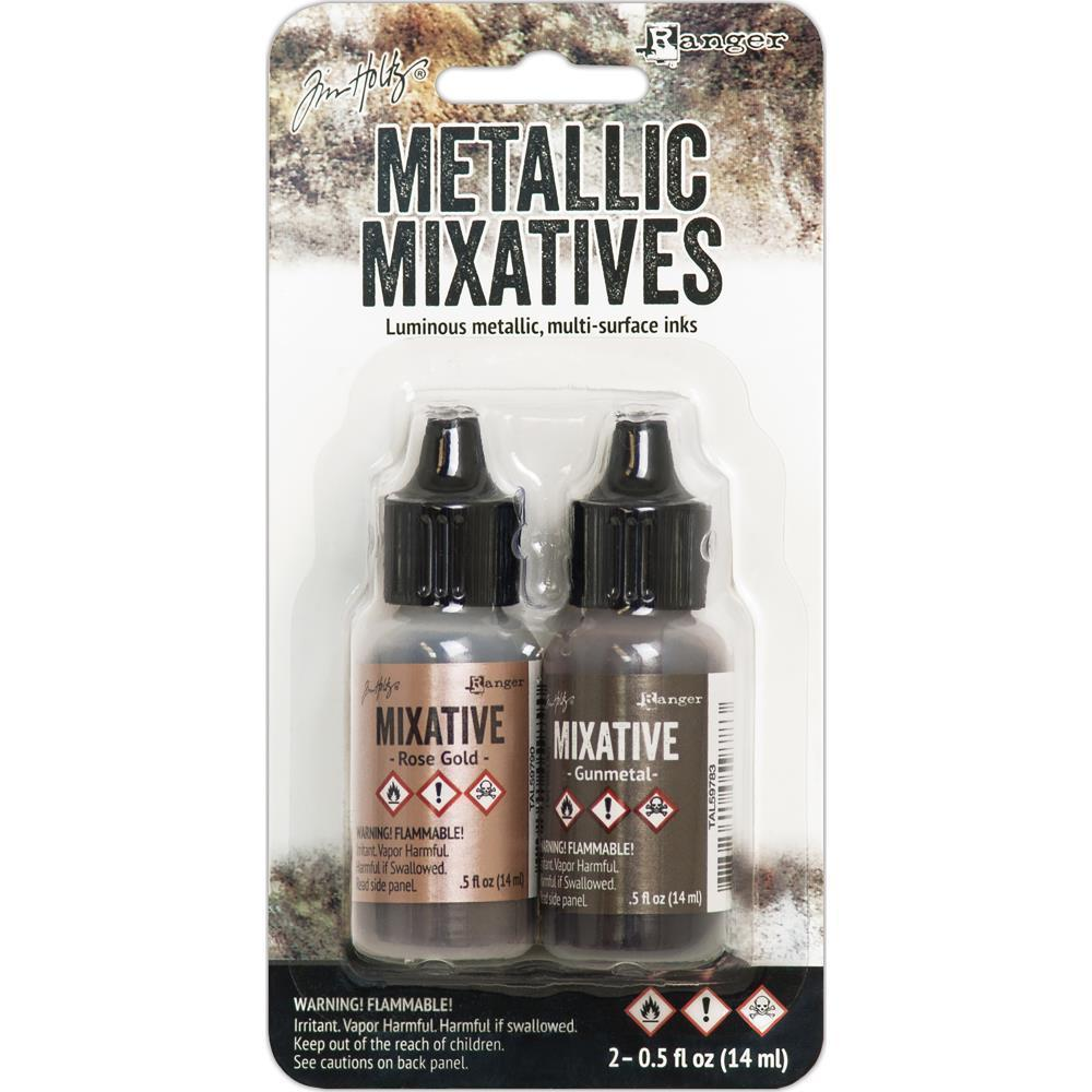 Tim Holtz Alcohol Ink Metallic Mixatives .5oz 2 pack Rose Gold & Gunmetal