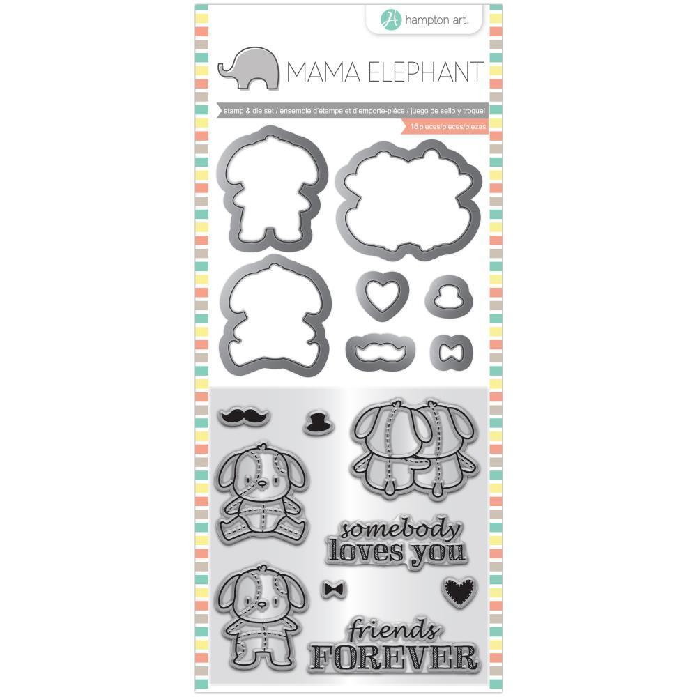 Mama Elephant Stamp & Die Set 4x8  inch - Lovey Puppy