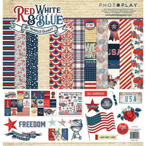 PhotoPlay - Collection Pack 12x12 inch - Red, White & Blue